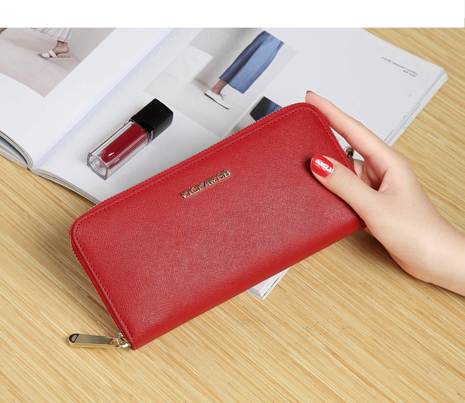 VICKAWEB Big Female Wallet Solid Women Wallets Genuine Leather Zipper Long Purses New Standard Wallets Fashion Ladies Purse 06-VICKAWEB06--007