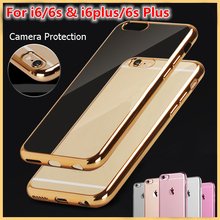 New Metal Flash Electroplating Luxury Case For iPhone 7 6 6S Plus 5s SE Soft Clear TPU Cover For iPhone 6 7 6S 5S Capa