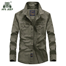 Buy AFS JEEP 2017 Autumn men's high military casual brand long sleeve shirts spring man 100% cotton army green shirt S-4XL for $25.61 in AliExpress store