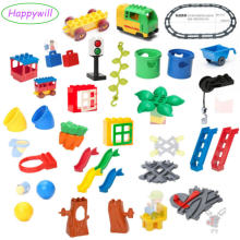Big Building Blocks Accessory Bricks Doll Animals Bridge Cart Slide Ladder Swing Compatible with Legoed Duplo Baby Toys Gift