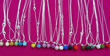 10mm 16inch white mixed Wholesale hotsale ball women wedding Crystal Pendant Silver Plated Snake Chain Shamballa Necklace S3FER