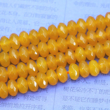 "5x8mm Faceted dark yellow chalcedony abacus shaped loose beads 15"" DIY women jewelry making wholesale and retail(China)"