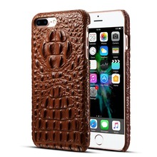 Brown Real Genuine Leather Case for iPhone 7 Plus 7 Cell Phone Luxury 3D Crocodile Pattern Retro Vintage Hard Russia Cover Case