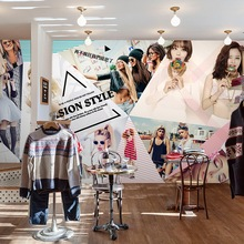 Free Shipping Personalized fashion trend girl wall painting wallpaper beauty shop clothing store salon 3D custom mural