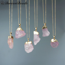 "DoreenBeads Gem Stone Druzy Necklace Copper Link Cable Chain gold color Pale Lilac 44.5cm(17 4/8"")long,1 PC"