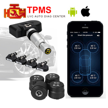 Wireless Smart Car TPMS Bluetooth 4.0 Auto Tyre Tire Pressure Monitoring System 4 Internal/Extenal Sensors for iOS Android App(China)