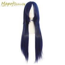 Long Straight hair cosplay wig 80cm 17colors black blonde orange blue brown green pink Synthetic wigs Heat Resistant MapofBeauty(China)