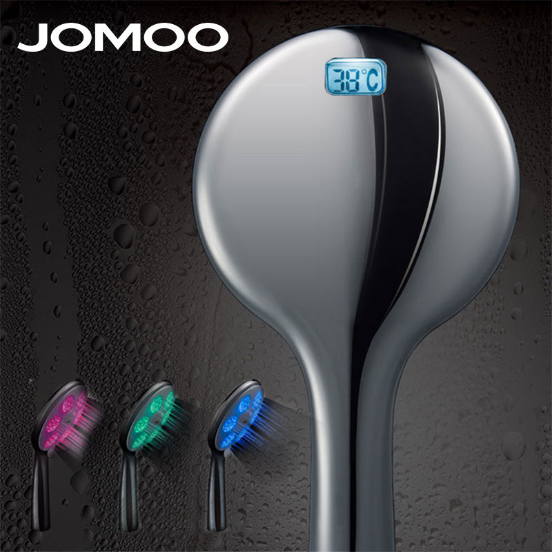JOMOO Water Temperature Led Shower Head Bath Shower 3 Color Temperature Display Handheld Water Saving High Pressure Shower Head <br>