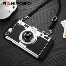 Luxury Vintage Camera Phone Case For iPhone 7 7 Plus 6 6s SE 5 5s Cool 3D Fashion Style Long Strap Rope Case Capa For iphone 7