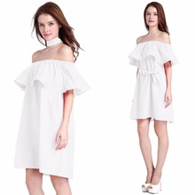 2017 New Apparel Ruffles slash neck women dress Summer style off shoulder sexy dresses vestidos White tube beach dress cotton(China)