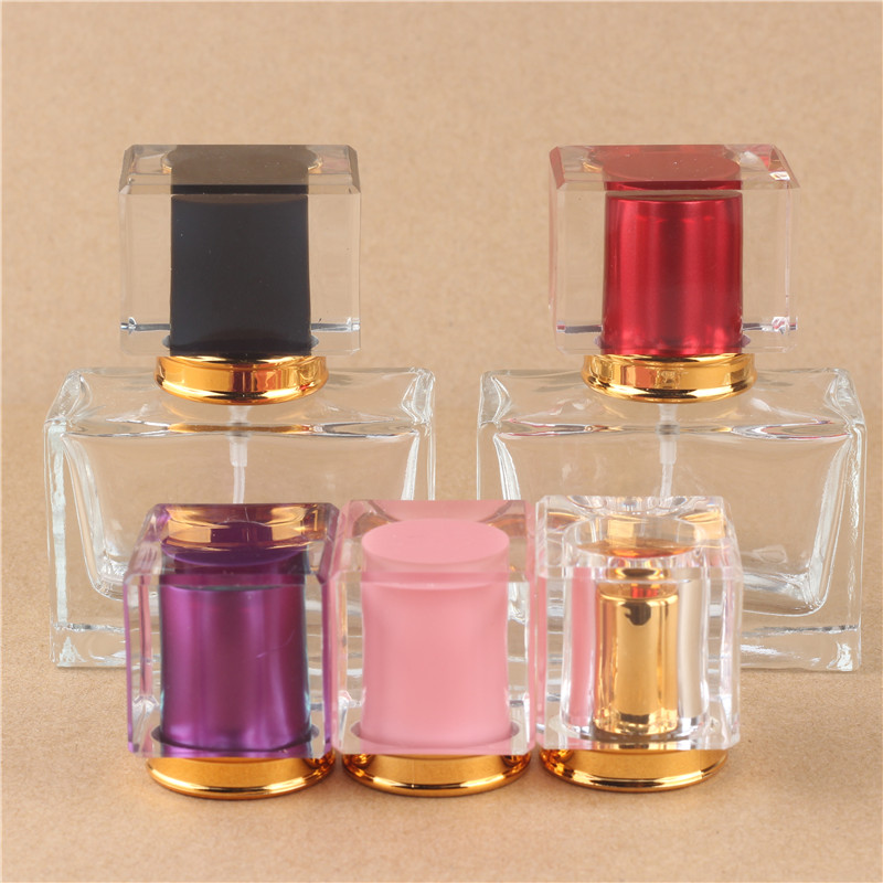 (5pcs/lot) 35ml  New Style  Glass Perfume Bottle With Spray Empty Parfum Case With Atomizer For Cosmetic with 5 colours<br>