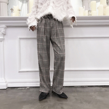 EMAIGI Couple Men Vintage Casual Straight Plaid Male Elastic Waist Design Harem Pant