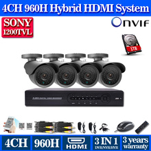4 Channel cctv 960H DVR SONY 1200TVL Security camera System 4ch video surveillance cctv dvr hdmi 1080p usb 3g wifi with 1TB HDD(China)