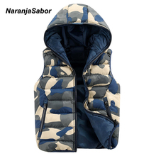 NaranjaSabor 2017 Men's Hoodies Camouflage Vests Men Women Casual Winter Jackets Male Slim Camo Waistcoats Men's Brand Clothing