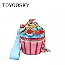 Toyoosky 2018 New Small Cupcake Cake Shape Women S Shoulder Bags Female Cartoon Cute Pu Leather Messenger