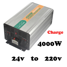 4000W  24vdc 220vac power converter for car with battery charger  universal socket high power 4000watt power inverter