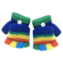 Toddler Baby Gloves Colorful Cute Thicken Cotton Blend Winter Warm Gloves Patchwork Hot Girls Boys Mittens Gants Enfant #7127(China)
