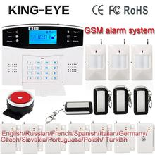 Russian/Polish/French/Spanish voice LCD display gsm wireless home burglar security alarm system roof ceiling infrared sensor(China)
