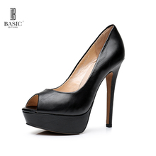 Basic Editions Women Spring Leather Platform Peep Toe Thin High Heel Shoes - A2131-67(China)