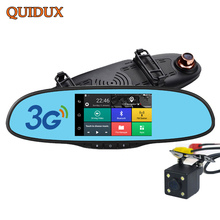 QUIDUX 5.0 inch FHD 1080P Android Car DVR with rear Camera 3G WCDMA Wireless dash cam GPS Navigation rearview mirror camera dvr