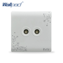 Two TV Socket Outlet 2017 Hot Sale Wallpad Luxury Wall Switch Panel Socket 86*86mm 10A 110~250V(China)