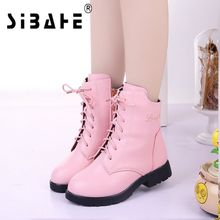 Sibahe Girl Winter Leather Boots Children Mid-calf Anti-skid Rubber Shoes Kids Lace-up Martin Boots Red Black Pink size 27-37(China)