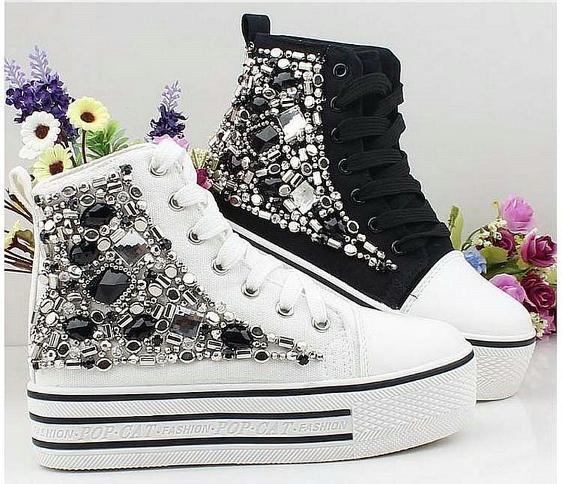 Rhinestone beaded platform high flat casual shoes canvas shoes single shoes elevator shoes<br><br>Aliexpress