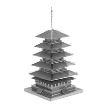 3D Metal Puzzles Model China Fmaous Building Scale DIY Jigsaw Puzzle Five Storied Pagoda Model Gifts For Adult/Kids