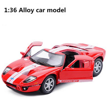 Free shipping!high simulation Ford GT sports car model, 1: 36 scale alloy pull back car model toy, 2 open the door, wholesale