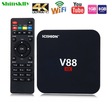 Shinsklly V88 TV Box Android 5.1 RK3229 PK Amlogic S905X RAM 1GB+ROM 8GB 4K Android tv box WiFi Set Top Box kodi 3D Media Player