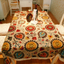 Free shipping Cloth cotton & Linen Tablecloths Table Retro Sunflower Table Cloth Table Cover Home Accessories Floral Tablecloth