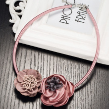 Pink Red Blue Collares Women Jewelry Handmade Necklaces Boho Maxi Choker Necklace Gothic Fabric Flower Pendants For Women Mujer