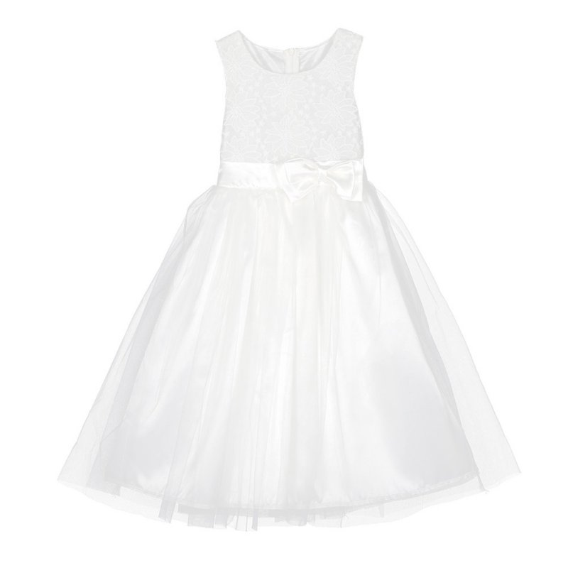 Kids Baby Child Girl Party Wedding Lace Bow Tulle Dresses White Sleveless Dress Summer Baby Girls Princess Dress<br><br>Aliexpress