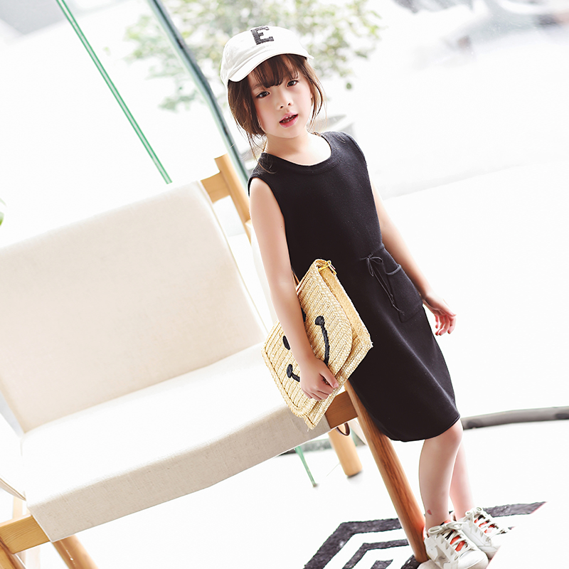 Girls dress in the spring of 2017 the new Korean children childrens children in a solid color sleeve  bottom dress<br><br>Aliexpress