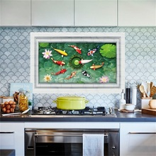 3D Fishes Water Pool Through The Floor Sticker Ome Decal Pastoral Mural Wall Art Pastoral Poster Bathroom 3D Floor Stickers