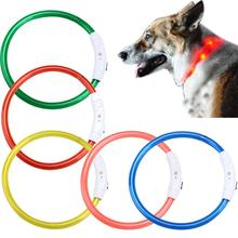 Hot Rechargeable USB Waterproof LED Flashing Light Band Safety Dog Collar Mascotas Collares Perros Glowing Dog Collar
