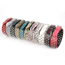 New Unique Studded Faux Leather Dog Collar Large Pet Dog Pitbull Bully Terrier High Quality PU Leather Cat Neck Strap Adjustable