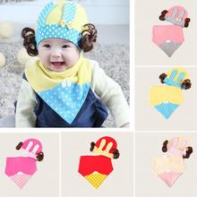 Cute Wig Dot Baby Caps New Girl Boys Cap Triangular Bandage Set Cotton Baby Infants Saliva Towels(China)
