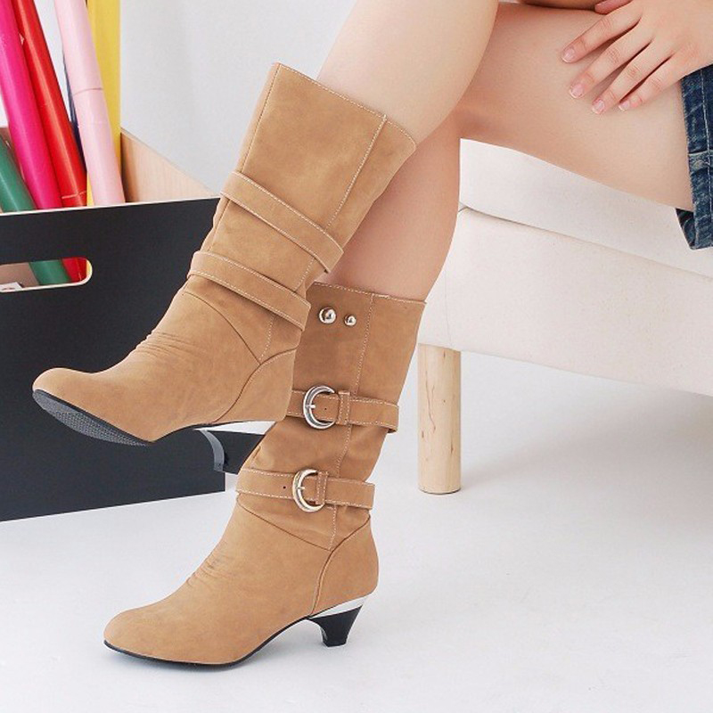 Sexy Low Heels Women Boots Spring Autumn Buckle Mid-Calf Boots Elegant Ladies High Heels Slip On Platform Shoes Woman#ZH41<br><br>Aliexpress