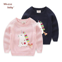 New Spring Girls Sweater Cartoon Horse Embroidery Sweater For Girls Warm Knitted Infant Outwear Baby Girls Pullover Clothes(China)