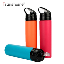 Transhome Silicone Water Bottles 600ml Creative Portable Collapsible Water Bottle Travel Shaker Folding Outdoor Sport Tea Kettle