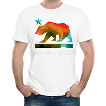 New Arrivals 2016 Men's Summer Fashion Colored California Bear Printed T Shirt Cool Tops High Quality Casual Short Sleeve Tee
