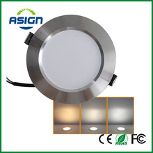 Changeable Led Downlight 3w 5w 7w Ceiling Recessed Light Silver Frame 3 Color Change Warm Nature Cool White AC180-240V SMD5730