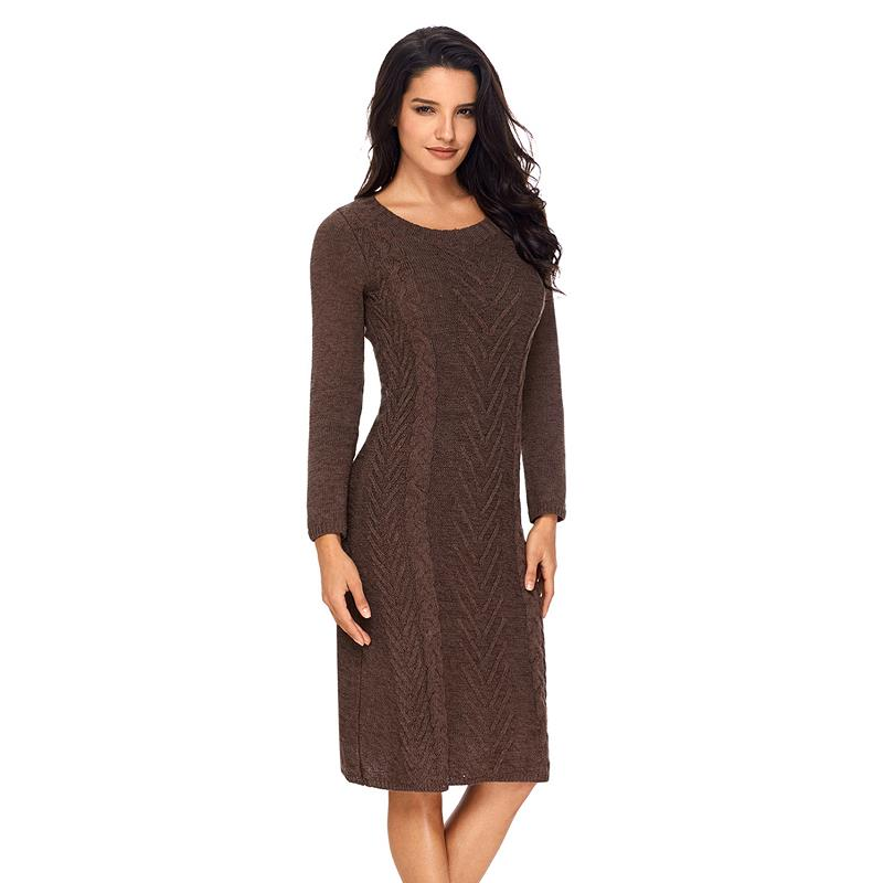ADEWEL 2018 Spring Women Long Sleeve Bodycon Sweater Dress Casual Hand Knitted Midi Dress Elegant Inner Wear Womens Dresses (14)