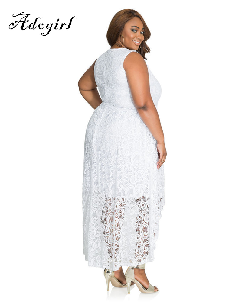 Adogirl 2017 Summer Sexy White Lace Plus Sizes 3XL 4XL Hi-Low Dresses-2