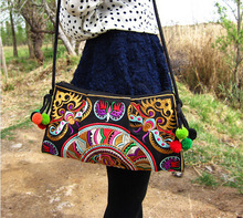 2015 national trend ethnic Embroidered bag handmade double faced embroidery Messenger shoulder bag handbags
