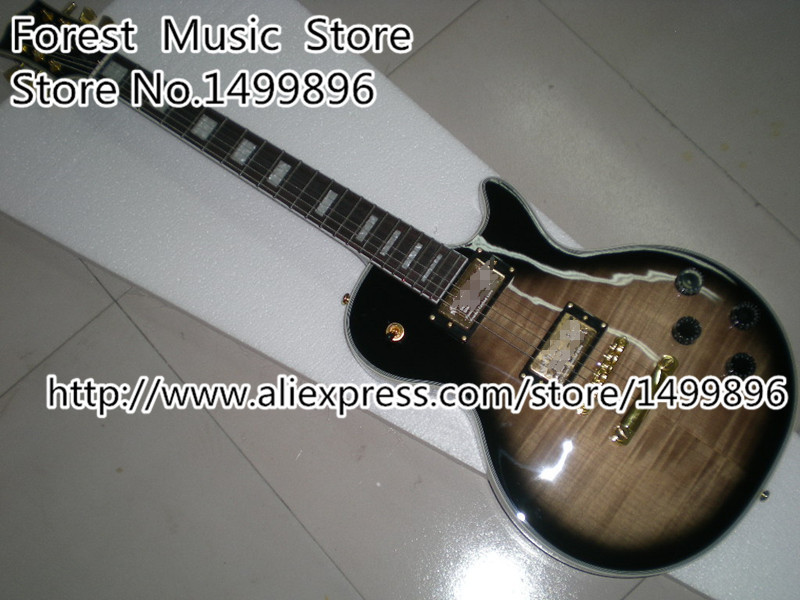 Classical Vintage Grey Tiger Flame 22 Frets LP Custom Electric Guitars China OEM Guitar Body & Kits Left Handed Available(China (Mainland))