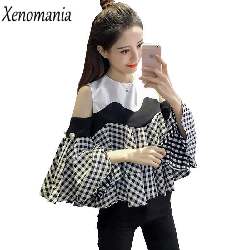 Cold Shoulder Tops Off Shoulder Top Blusas 2017 Korean Kimono Ruffle Blouse Plus Size Shirt Boho Blusa Feminina Plaid Blouses