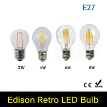 2W 4W 6W 8W A60 E27 Led filament bulb clear grass edison light bulbs indoor led lighting 220V 240V filament lamp 4pcs/lot(China)