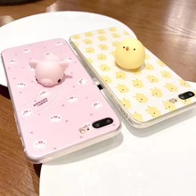 Lovely 3D Soft Yellow Chicken Pink Pig Squishy Phone Cases For iPhone 6 6S 6 Plus 7 7 Plus Cartoon TPU Silicon Back Cover Capa(China)